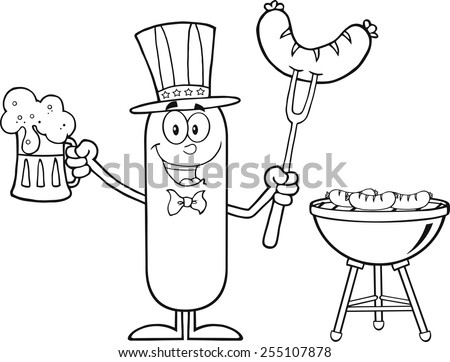Black And White Patriotic Sausage Cartoon Character Holding A Beer And Weenie Next To BBQ. Vector Illustration Isolated On White - stock vector
