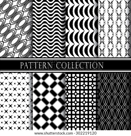 Black and white pattern collection. Vector illustration. - stock vector