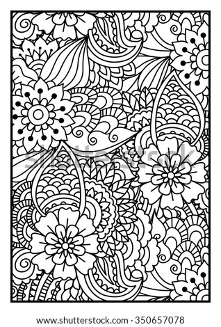 Black and white pattern. Ethnic henna hand drawn background for coloring book, textile or wrapping.