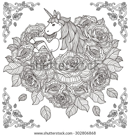 black and white pattern for coloring book for adults with adorable unicorn and roses background - stock vector
