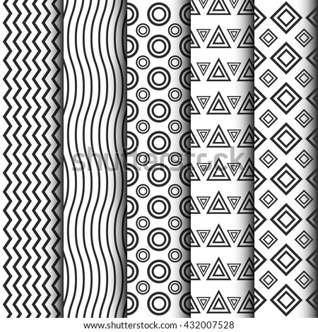 black and white pattern set, minimal collection - stock vector