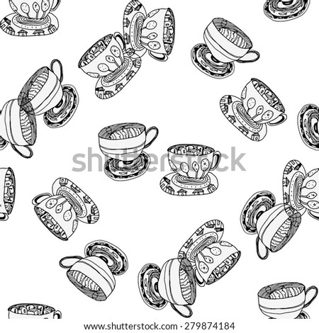 Black and white pattern with cups and saucers.Seamless. - stock vector