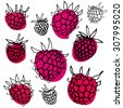 Black and white pattern with raspberry. Hand drawn ink outline raspberry with color spots. - stock vector