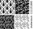 Black and white patterns collection - stock vector