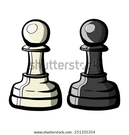 Black and white pawns. A children's sketch. Color image. - stock vector