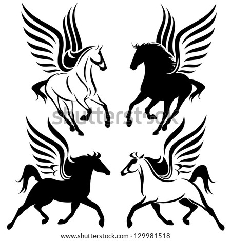black and white pegasus design - winged horses vector set - stock vector