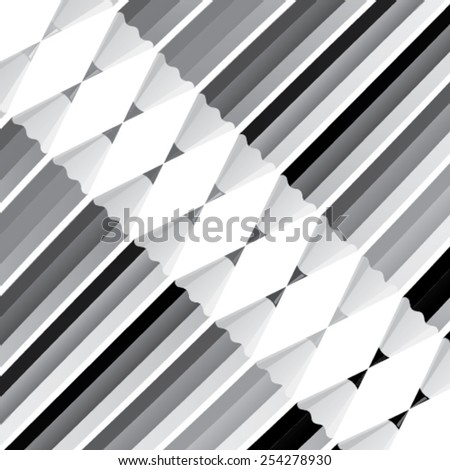 Black and white pencil texture - color pencils in a row and isolated from background - stock vector