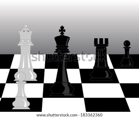 black and white pieces of chess on a gray background