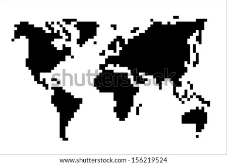 black and white pixel world map