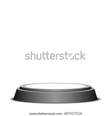 Black and white podium. Pedestal. Scene. 3D. Vector illustration. - stock vector
