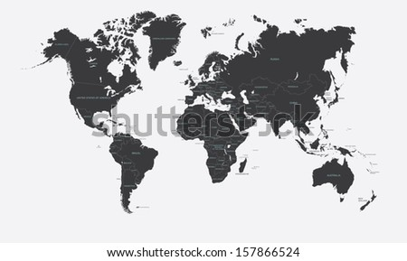 Black and white political map of the world vector