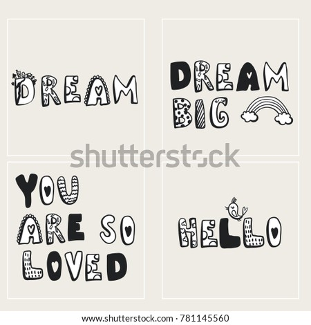 Black and white posters for baby kids illustrations for nursery hand drawn letters