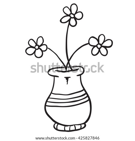 Black And White Pot With Flowers Cartoon