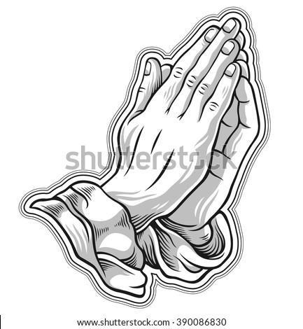 Black and white prayer hand. Vector illustration - stock vector