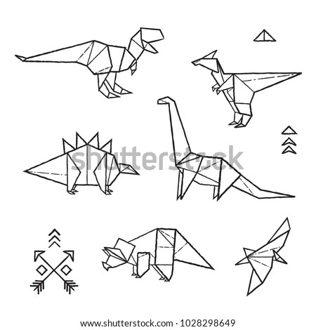 Black And White Prehistoric Tattoos Dinosaurs Origami Set In Contour