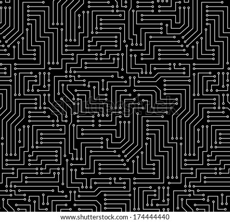 Black and White Printed Circuit Board Seamless Background with Pattern in Swatches - stock vector