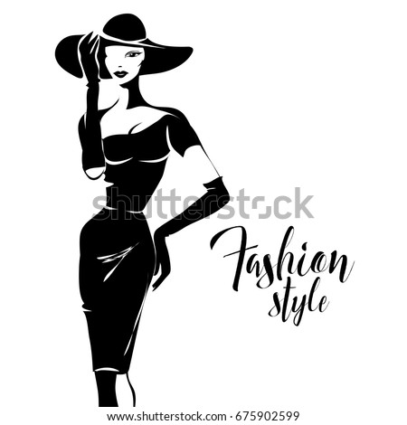 Black and white retro fashion model silhouette sketch style hand drawn vector illustration background