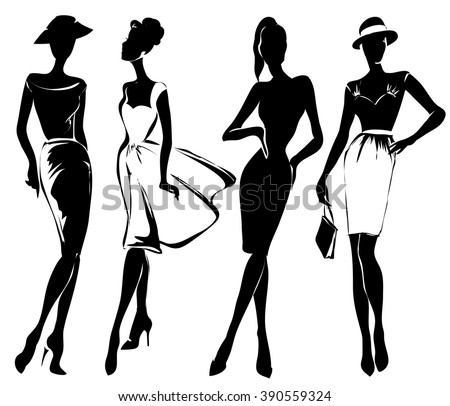 Black and white retro fashion models in sketch style. Hand drawn vector illustration - stock vector