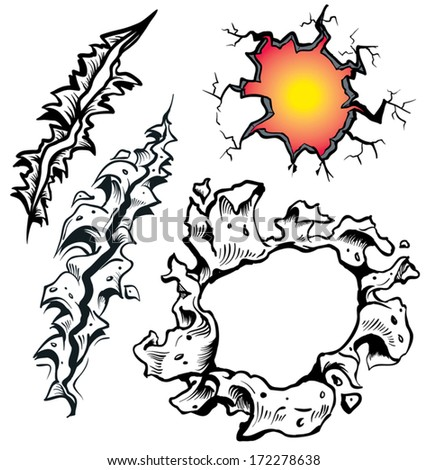 black and white rips and tears - stock vector