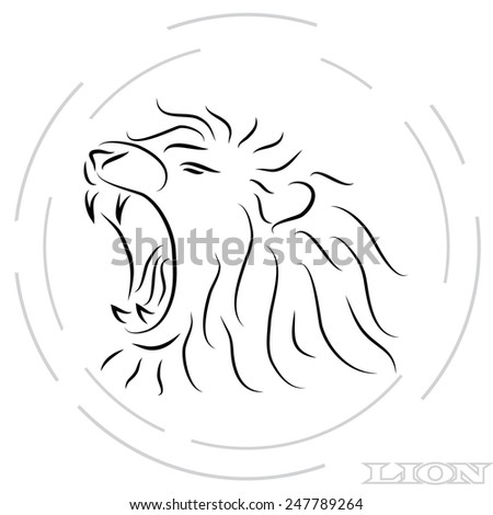 black and white roaring lion silhouette - stock vector