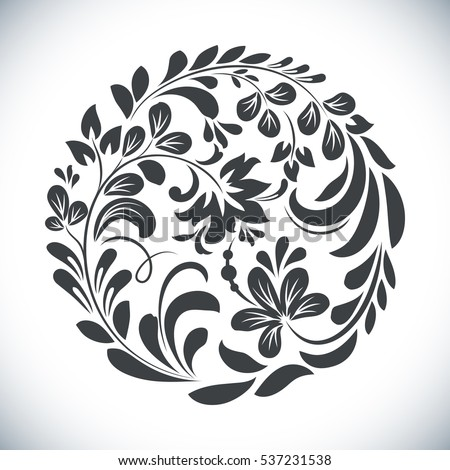 Black White Floral Design Element Stock Vector 73511725 ...