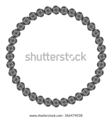 Black and white round frame with celtic ornament - stock vector