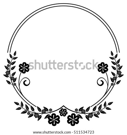 Black And White Round Frame With Floral Silhouettes Copy Space Vector Clip Art