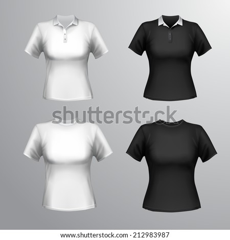 Black and white round neck and polo short sleeve t-shirts female set isolated vector illustration