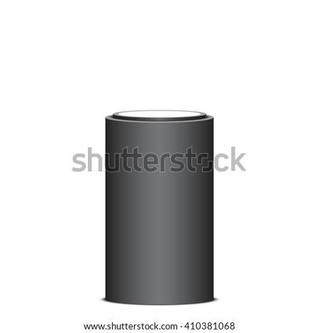 Black and white round pedestal. Stand. Cylinder. Tribune. 3D. Light effect. Vector illustration. - stock vector