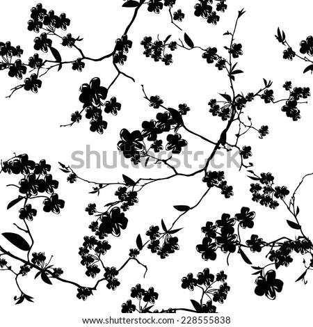 Black and white sakura seamless vector background - stock vector