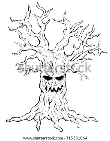 Black and White Scary Tree With Spooky Smile and Sketchy Style - stock vector