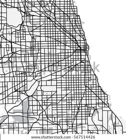 Black White Scheme Chicago USA City Stock Vector 567514426