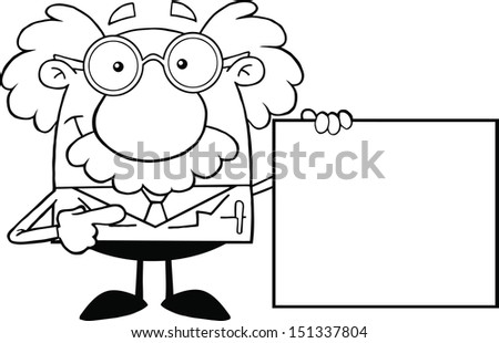 Black And White Scientist Or Professor Showing A Blank Sign - stock vector