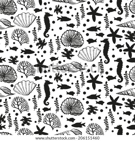 Black and white sea pattern. Seamless pattern for fabric, paper and other printing and web projects.
