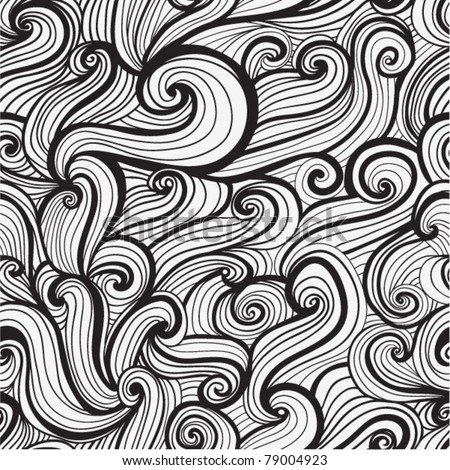 black and white seamless abstract hand-drawn pattern, looks like hair or waves
