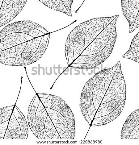 black and white seamless autumn pattern. background with leaves
