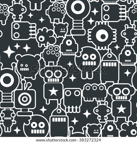 Black and white seamless background with monsters from the space. Vector pattern of little robots, cute and friendly.