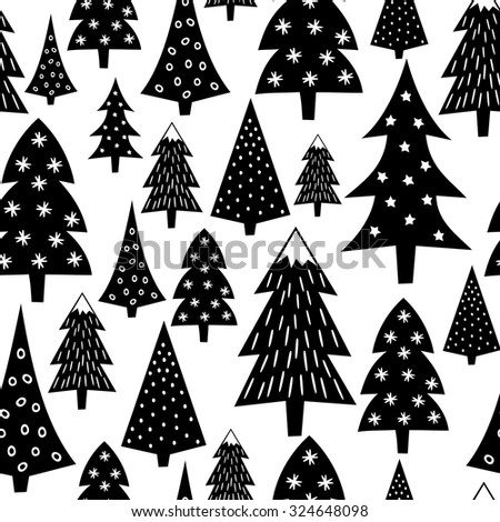 Black and white seamless Christmas pattern - varied Xmas trees and snowflakes. Winter forest illustration. Vector design for winter holidays on white background. Child drawing style trees. - stock vector