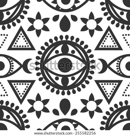 Black white seamless evil eye pattern stock vector royalty free black and white seamless evil eye pattern with geometric designs ccuart Images