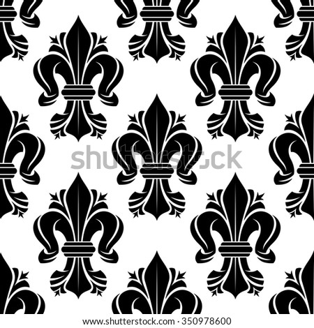 Black and white seamless fleur-de-lis floral pattern with curled lilies. Wallpaper, textile or interior usage - stock vector