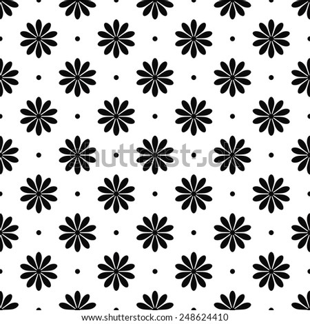 black and white seamless floral pattern. - stock vector