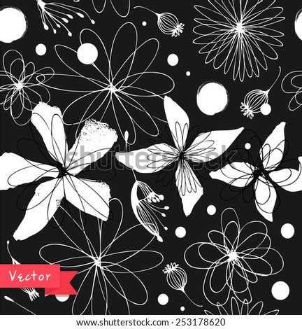 Black and white seamless floral pattern. Decorative ornate background with fantasy flowers - stock vector