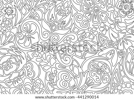 Black and white seamless floral pattern of pieces. For fabrics, curtains, tablecloths, prints, brands, clothing, wallpaper. Zen art. Vintage design. Coloring for adults and children - stock vector