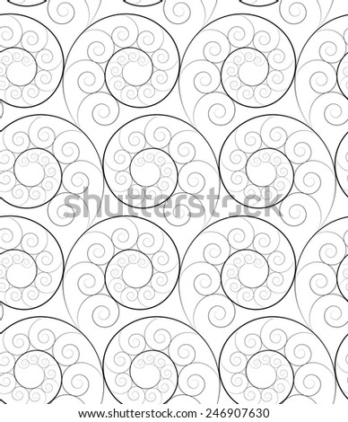 black and white seamless fractal pattern of spirals - stock vector