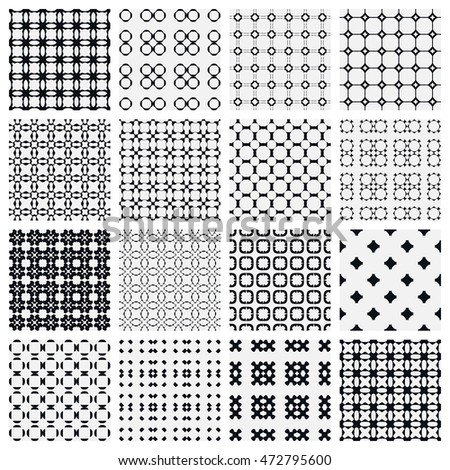 Black and white seamless geometric patterns set. Contemporary graphic design. Endless texture for wallpaper, pattern fills, web page background. Monochrome ornaments, simple shapes.