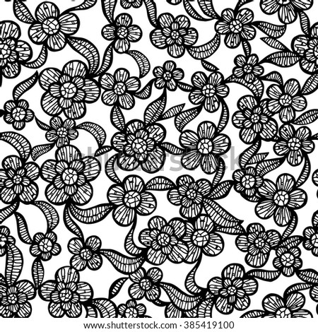 Black and White Seamless Lacy Pattern with Hand Drawn Floral Elements. Vector Illustration. - stock vector