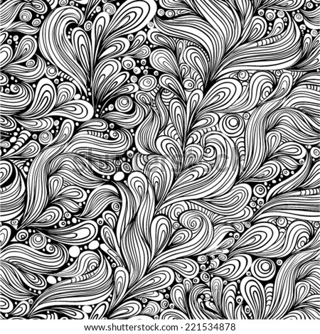 Black and white seamless pattern. Abstract hand-drawn pattern, looks like hair or  phoenix feather. Seamless pattern can be used for wallpaper, pattern fills, web page background,surface textures.  - stock vector