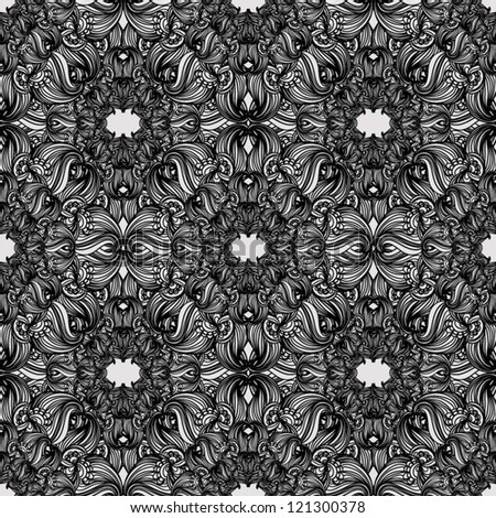 Black and white seamless pattern  Abstract seamless background  baroque pattern - stock vector