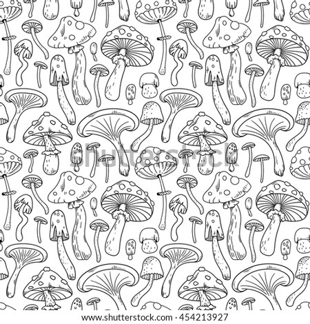 Black and white seamless pattern background with different mushrooms