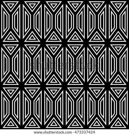 Black and white seamless pattern. Geometric shapes. The squares and triangles.